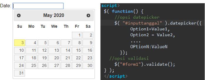 Kode jQuery UI datepicker