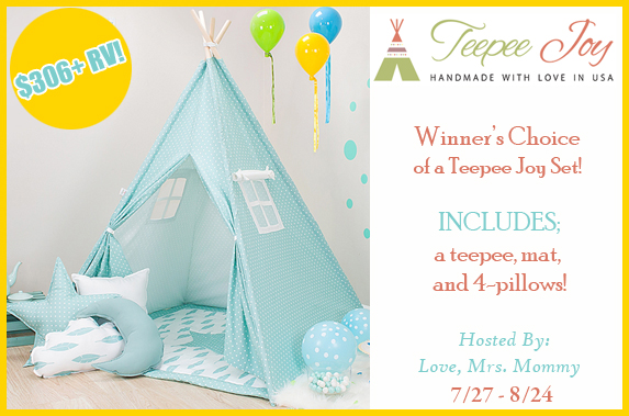Winner's Choice of Teepee Joy Set #Giveaway Ends 8/24