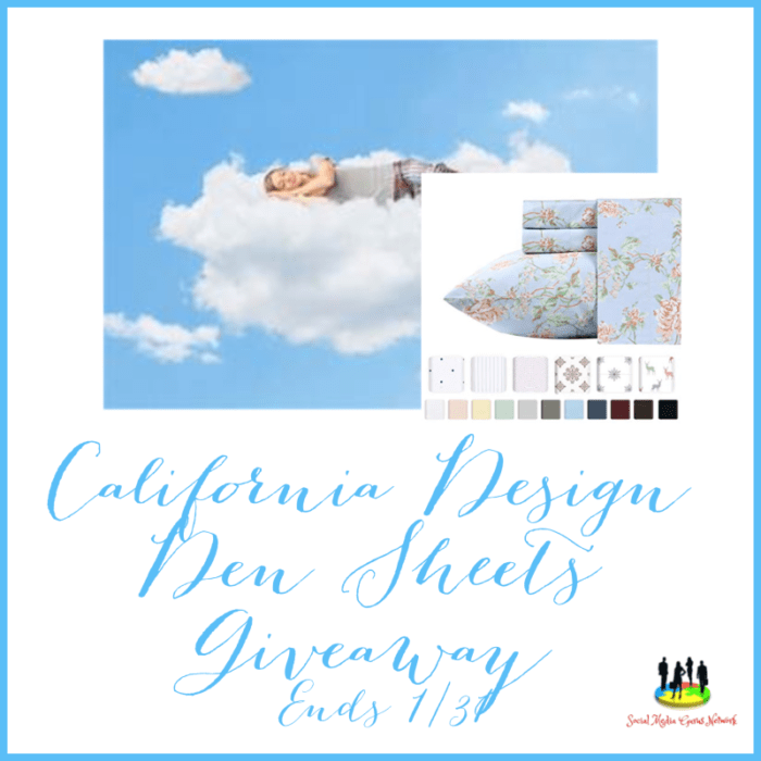 California Design Den Sheets #Giveaway Ends 1/31