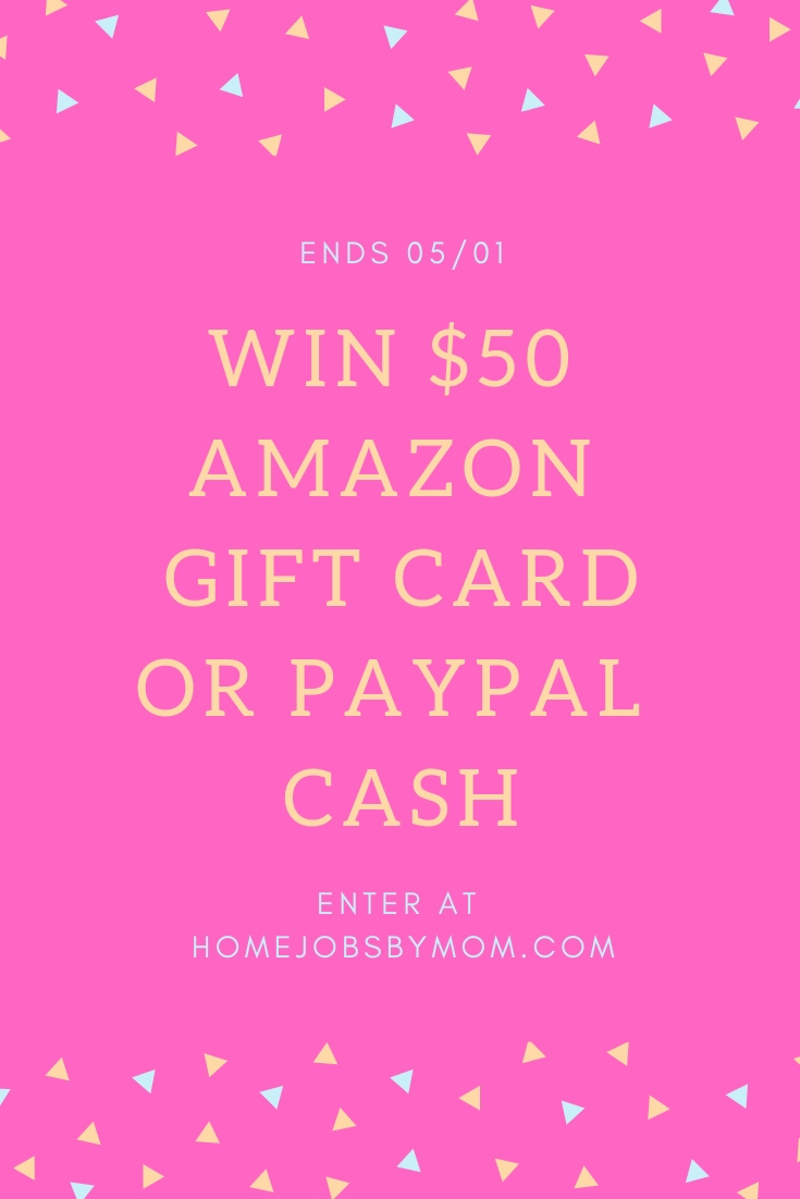 $50 Amazon or PayPal #Giveaway Ends 5/1