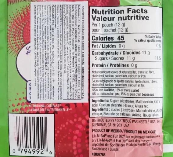 Lik-M-Aid Fun Dip nutrition facts label
