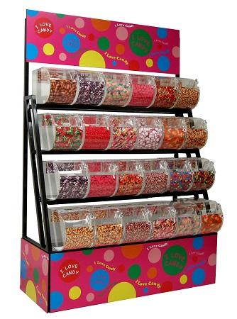 candy display rack with bins scoop assemblies 72