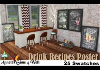 ▷ Pack de 25 Posters de Recettes de Cocktails par Annett Sims