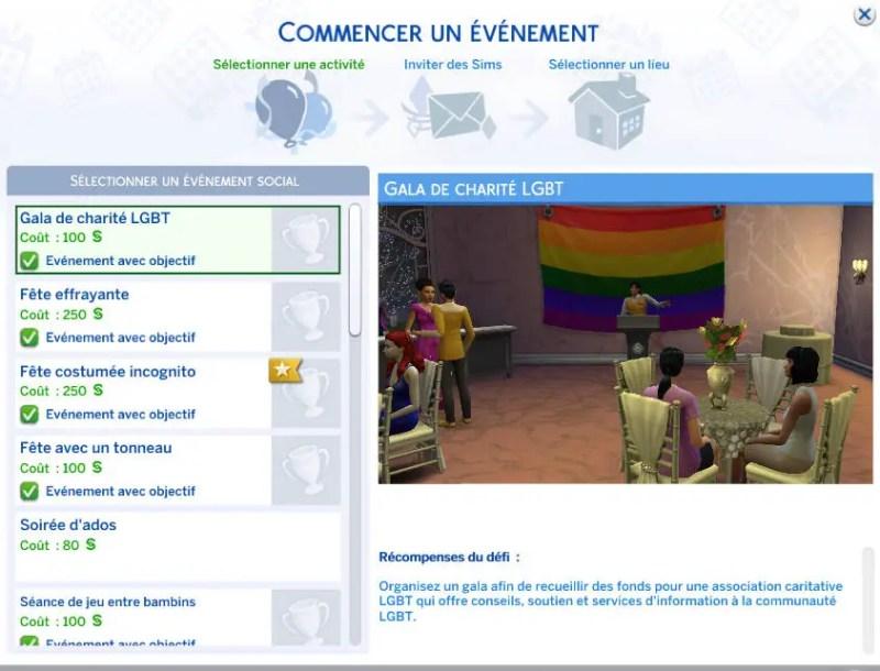 évènement LGBT sims 4