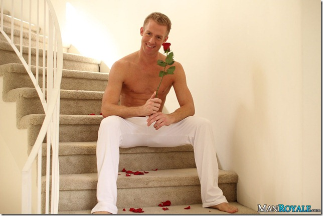 Hot stud romances lover with flowers