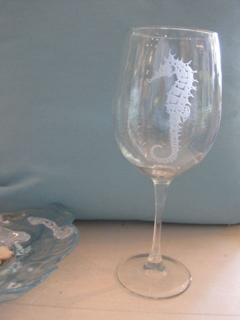 Etched Seahorse White Wine Glass Candys Cottage