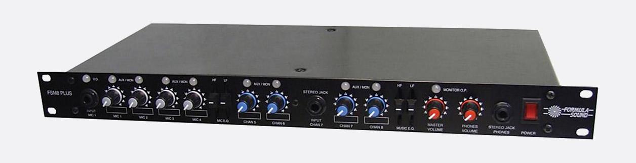 formula sound fsm8 mixer stereo 4 microphone 4 stereo inputs 1u rackmount