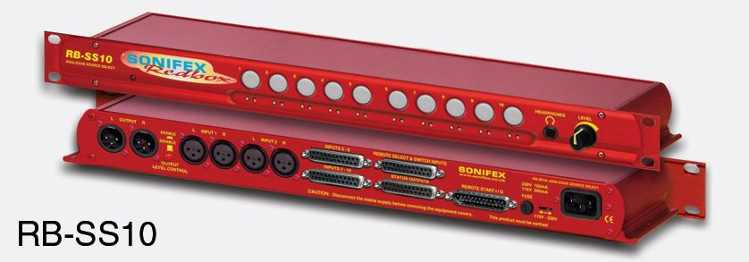 sonifex rb ss10 source selector and mixer analogue stereo 10 in 1 out 1u rackmount