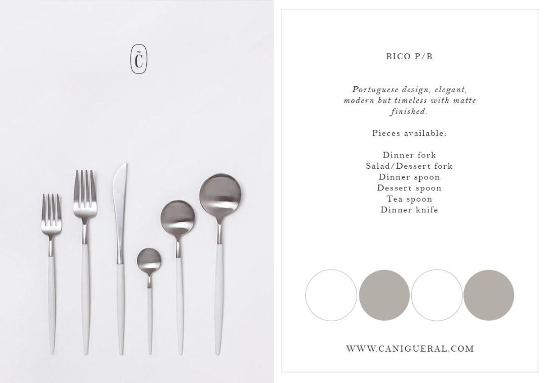 flatware silver/white