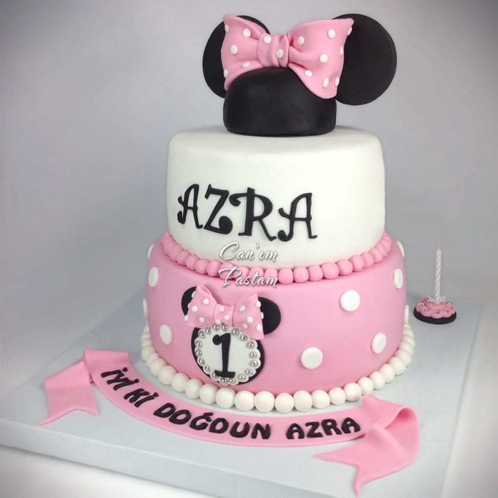 1 Yaş Pastası Mini Pasta Minnie Mouse Cake