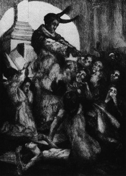 Ilustración de Henry Chapront para Là-bas con una misa satánica para una edición de 1891
