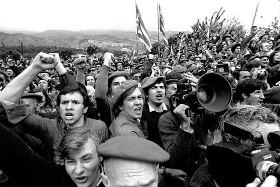 Partidarios de Carlos Hugo manifestándose tras los tiroteos de Montejurra.