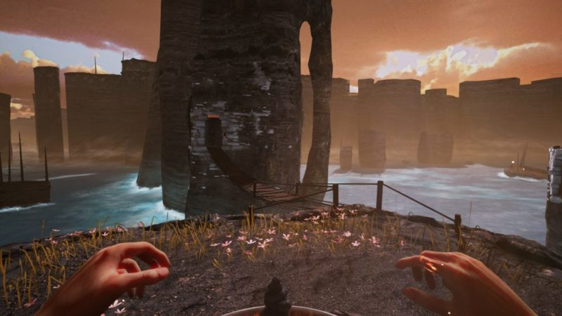 Two hands showing in 1st person view. Wooden robe bridge and tower surrounded by water in background.