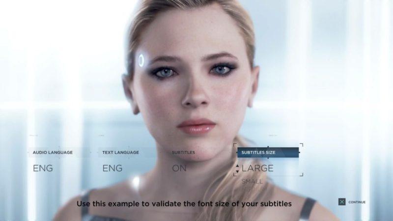 Detroit: Become Human subtitle option screen.