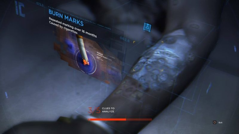 Close-up examination of evidence, cigarette burns on an android's arm.