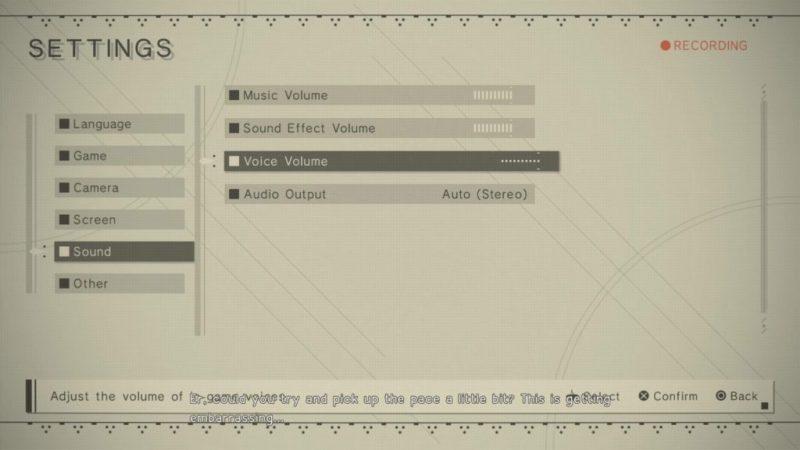 Sound options menu
