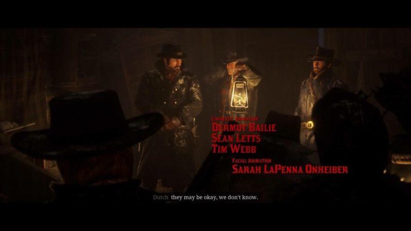Opening cutscene, Dutch, Hosea, and Arthur inside cabin.