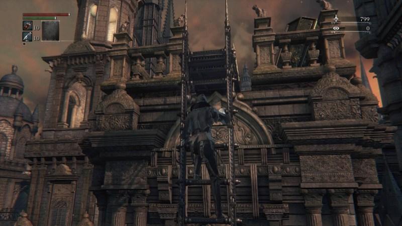 Player character climbing ladder.