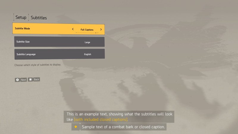 The Division 2 subtitle setup screen