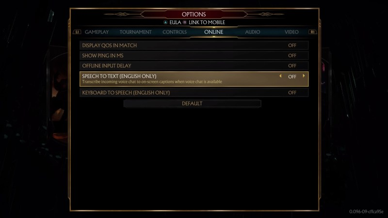 Online options menu with speech to text and text to speech chat options.