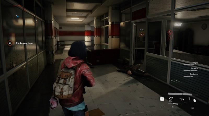 Player character standing in dark hallway.