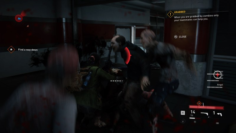 Horde of zombies attacking player character with directional damage indicator shown at the center of the screen.