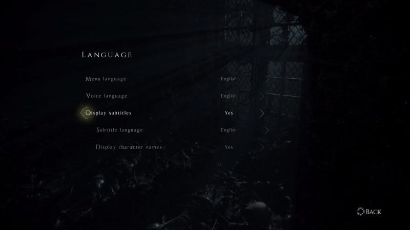 Language settings menu