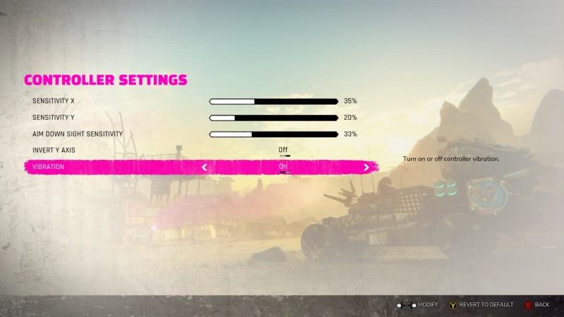 Controller settings menu