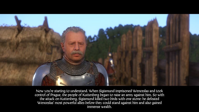 A knight talking to Henry with five lines of subtitle text shown on screen.
