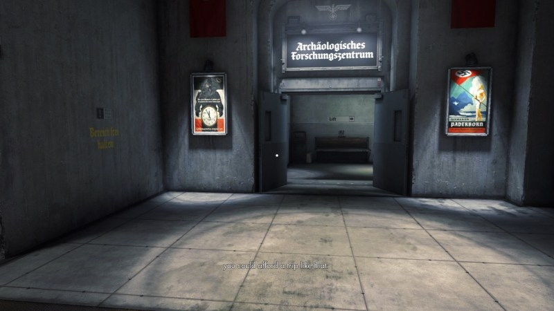 Nazi castle interior, illegible subtitles shown on screen.