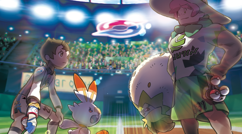 Pokemon characters in an arena - press art