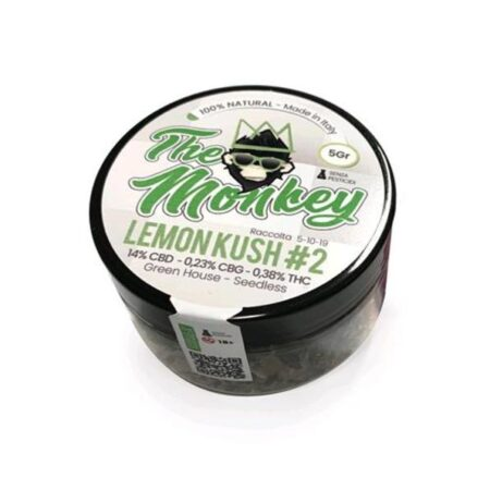 Scatola di cannabis light a marchio TheMonkey varietà lemon kush