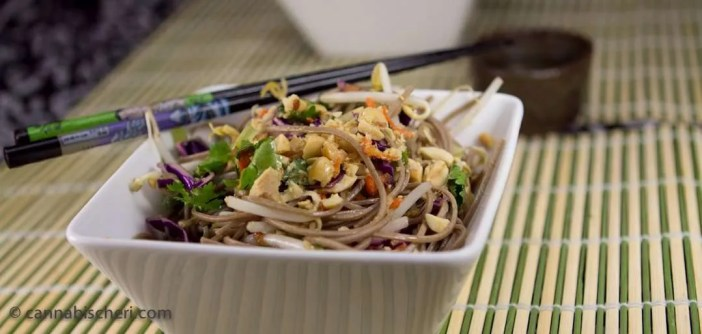 Marijuana Recipes Cold Soba Noodles with Chicken and Veggies
