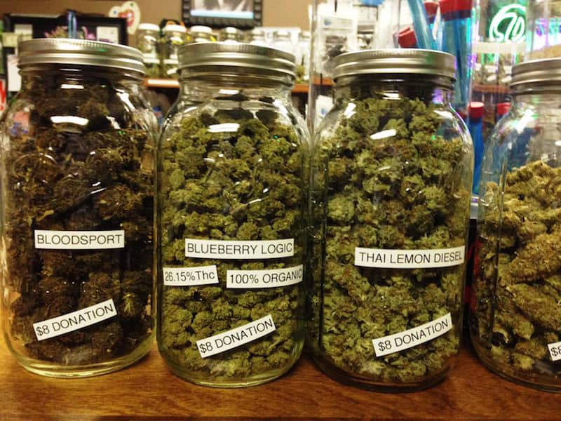 different cannabis strains in jars in Manitoba