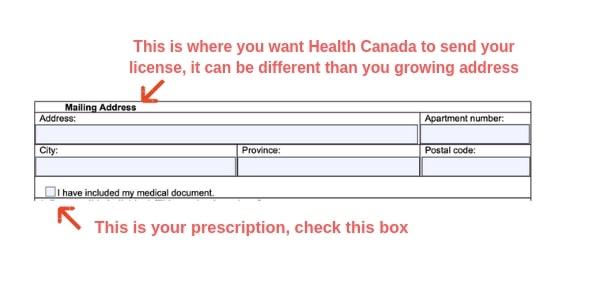 Example Canada marijuana license form mailing address