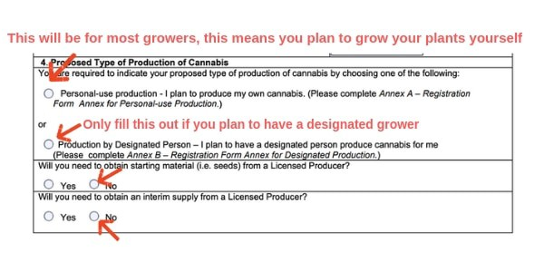Example Canada marijuana license form proposed type of production