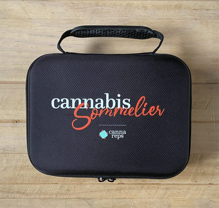 Birdseye view of a closed Cannabis Sommelier Toolkit