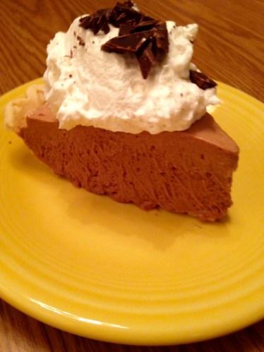 german chocolate silk pie slice