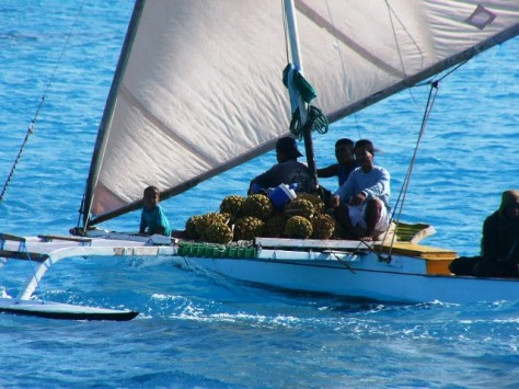 An Ailuk family transports pandanus fruit by canoe. Photo: Arc Tracer