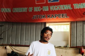 Alumni Handy Aisek graduated from WAM's 2013 program. He is now a trainer in the Jitok Kapeel Program, which teaches youth vocational skills.