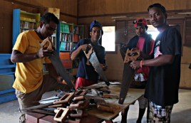WAM Trainees Harris, Bilton, Antonio and Carvie doing inventory of tools. Photo: Tolina Tomeing