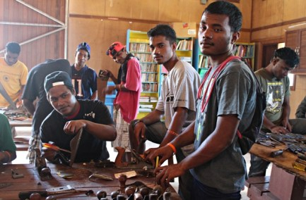 WAM Trainees Darlson, Ned and Scamyo doing tool inventory. Photo: Tolina Tomeing
