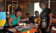 Trainees Al Edison, Etri John and Witney Jormile enjoying the IOM instruction. Photo: Tolina Tomeing.