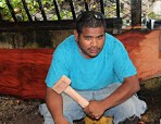 GEF Trainee Oliber Mack with wood hammer the first project for use in future creations. Photo: Sealend Laiden