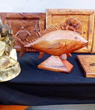 Fish carving created by Maston John. Photo: Suemina Bohanny