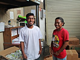 Trainees Danny Henry and Susan Edward at EzPrice during OJT. Photo: Sealand Laiden