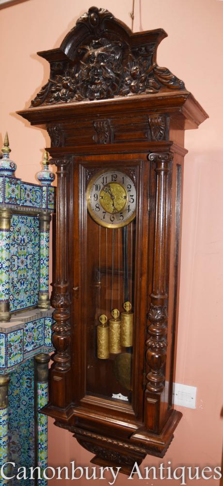 Antique Mahogany Vienna Regulator Wall Clock Hand Carved