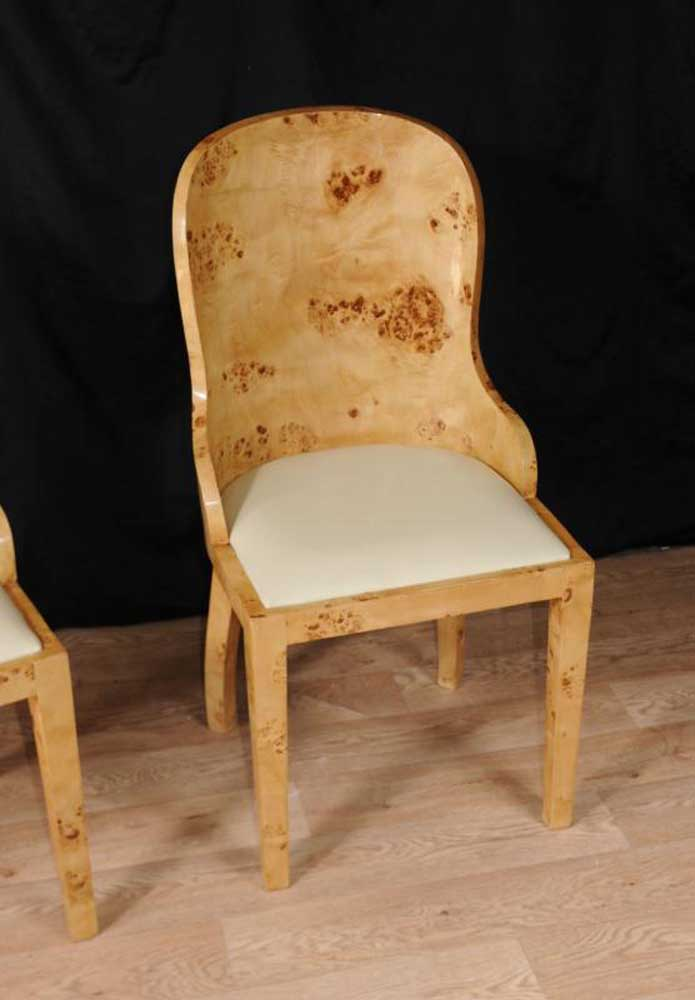 Set 8 Art Deco Dining Chairs Blonde Walnut Tub Chair