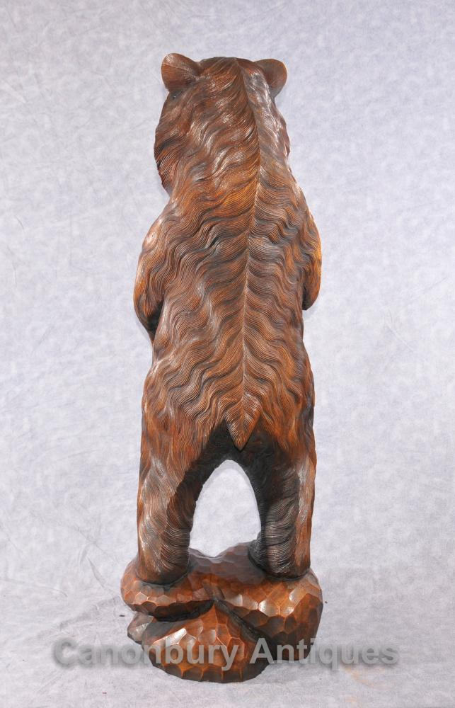 Pair German Black Forest Hand Carved Brown Bears Bear Statue