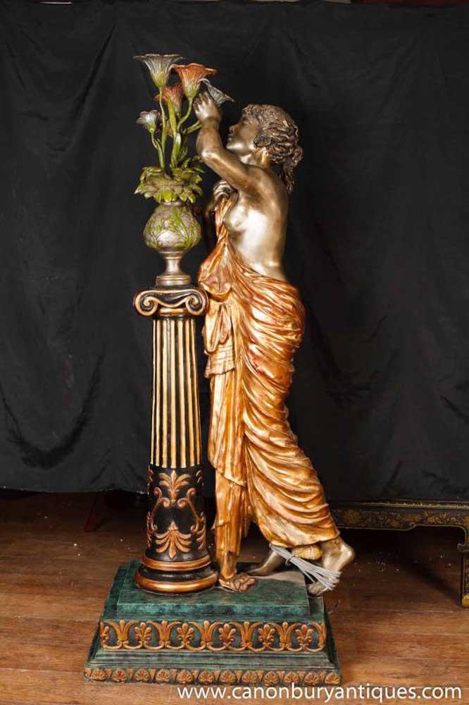 Italian Bronze Lifesize Maiden Lamp Light Statue Figurine Architectural Antiques